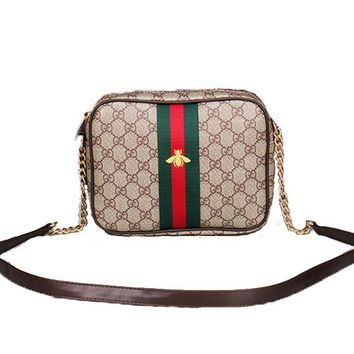 Gucci Small Bee Women Leather Shoulder Bag Crossbody Satchel
