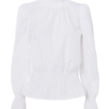 Smocked Detail Poplin Blouse