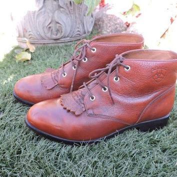DCK7YE Ariat roper boots / US size 6.5 EUR 36.5 / brown leather Ariat lace up ankle boots / w