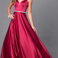 Classic Long Prom Dress with V-Neckline