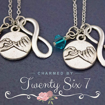 2 Pinky Promise Necklaces - Best Friend Gift - Pinky Swear Birthstone Jewelry - Personalized Jewelry - Gift for Best Friends