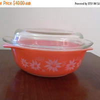 "PYREX SALE: Vintage Early 1960s Agee Pyrex Rose Pink 2 Pint Round Casserole Dish and Lid Featuring ""Flannel Flowers"" Pattern / Retro Milk Gl"