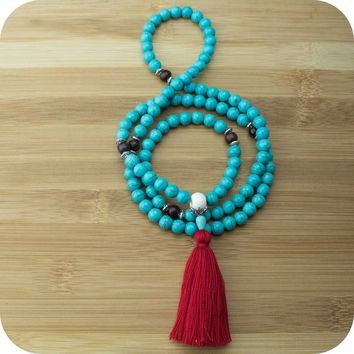 Turquoise Magnesite Mala with Rosewood