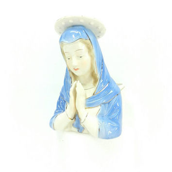 Virgin Mary Planter, Praying Hand, Halo, Madonna Vase, Vintage Planter, Religious Decor, Blue, Gold, White, Spiritual Decor, Catholic Art