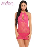 Avidlove Transparent Lingerie Sexy E Costumes Women Mini Baby Doll Sleepwear Nightwear  Apparel