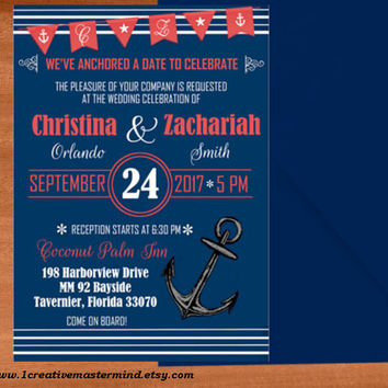 DIY Wedding Invitation Template Printable, Editable PDF Template, Instant Download, Digital, Nautical Maritime Navy Blue invitation #1CM81-1