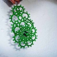 "Tatting earrings ""Emerald"" -  Handcrafted jewelry green - gift  for her -  party cocktail - OOAK"
