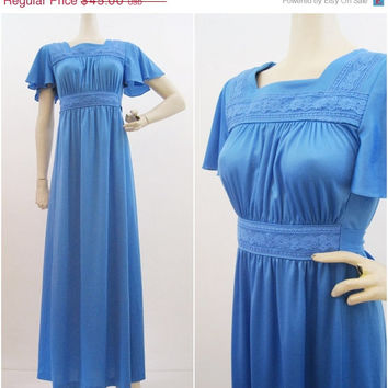 REDUCED 70s Dress Vintage Blue Flutter Sleeve Festival Hippie Maxi S M