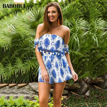 Baborui Blue Sexy Bustier Bohemian Dress 2018 Fashion Lace Embroidery Casual Short Sleeves Mini Off Shoulder Beach Dress 1169