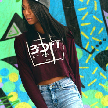 Ladies Crop Top Hoodie