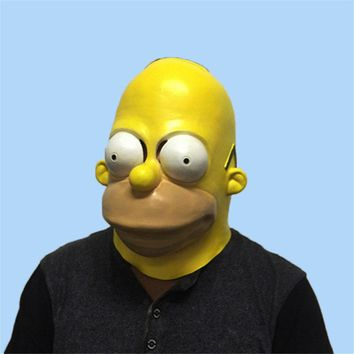 Funny Simpsons Latex Mask Halloween Masquerade Party Cosplay Masks Adults Full Face Horror Mask Headgear Hood Costume Props