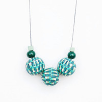 Blue And Mint Necklace,Polymer Clay Necklace,Geometric Necklace