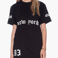 Black Graphic Print Tunic T-Shirt