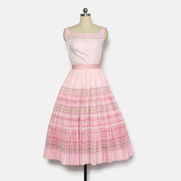 Vintage 50s PATIO Dress SET / 1950s Blouse & Skirt Pink Cotton SW Western Dress