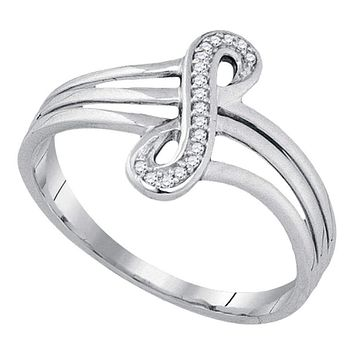 10kt White Gold Women's Round Diamond Vertical Infinity Strand Ring 1/20 Cttw - FREE Shipping (US/CAN)
