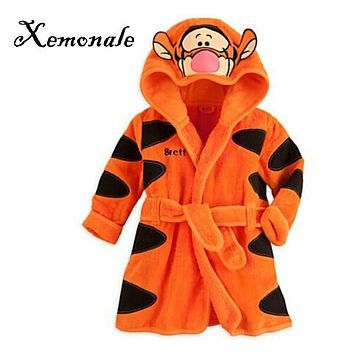 Xemonale 2017 New Baby Girls Boys Meninas Meninos with Hood Cartoon Pajamas Cartoon Mouse Robe kids Soft Robes