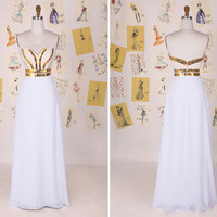 New Design White and Gold Sweetheart Beading Chiffon Long Prom Dress/Sexy Evening Gown/White Prom Dress/Party Dress/Wedding Dress