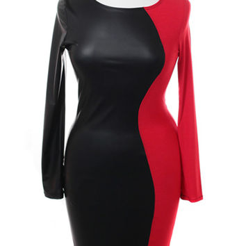 Plus Size Split Leather Red Midi Dress, Plus Size Clothing, Club Wear, Dresses, Tops, Sexy Trendy Plus Size Women Clothes