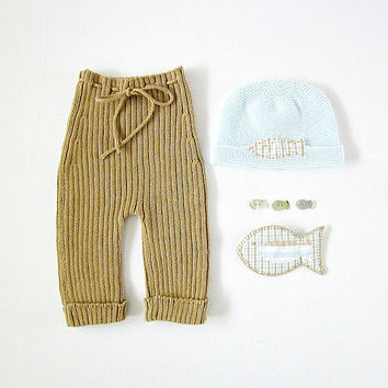 Knitted ribbed pants camel and hat with a little fish. 100% cotton. READY TO SHIP size newborn.