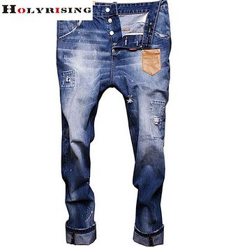 2017 High Quality Famous Brand Leather pocket Newly Style fashion jeans desigher jeans,slim straight fit pants men