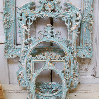 Frame grouping ornate very light blue aqua with white distressed French chic vintage wall decor Anita Spero