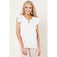 Eyelet Envy White Top