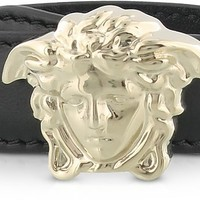 Versace Black Leather Bracelet w/Light Gold Metal Medusa