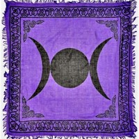 Triple Moon with Fringe - Purple - Small Tapestry