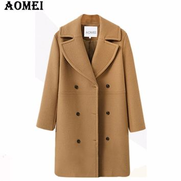 Women Winter Wool Coat Long Sleeve Casual Woolen Winter Cape Tops Double Breasted Outerwear Clothing Workwear for Office Ladies