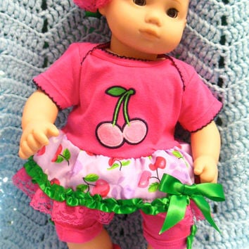 "AMERICAN GIRL Bitty Baby ""Cherry Delight"" (15 inch) doll outfit clothes dress, leggings/shorts, and baby booties/socks, and headband"