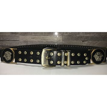 VINTAGE * RARE Authentic GIANNI VERSACE gold & silver studded belt * SZ 85/34