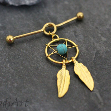 Gold Industrial Jewelry, Dream Catcher Industrial Piercing, Feather Scaffold Earring, Scaffold Barbell, Turquoise Barbell, Straight Bar