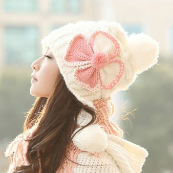 Chic Women's Bowknot Decorated Knitting Bomber Hat