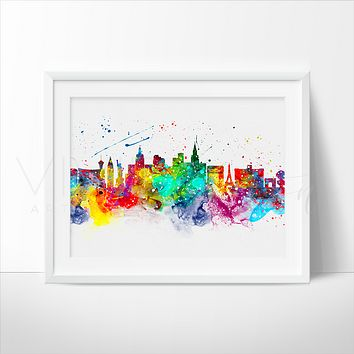Las Vegas Skyline Watercolor Art Print