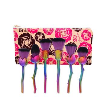 6pcs Rose Design Glitter Make up Brushes with Cosmetic bag
