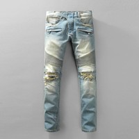 Fashion Pants Weathered Rinsed Denim Ripped Holes Slim Jeans [748306563165]