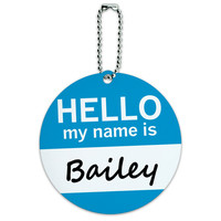 Bailey Hello My Name Is Round ID Card Luggage Tag