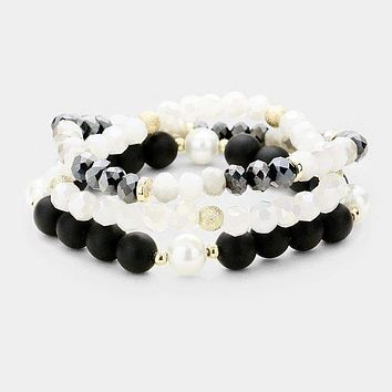 3Pcs Multi Strand Pearl Bead Stretch Bracelet