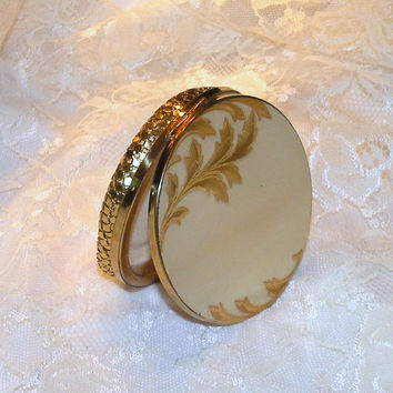 Vintage Elgin American Women's Powder Compact Floral Gold Silver Etched Mesh Bottom Compact Mirror Makeup Compact
