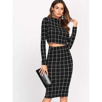 Crop Grid Top & Pencil Skirt Co-Ord BLACK
