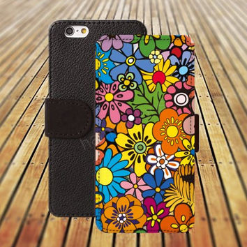 iphone 5 5s case dream colorful cartoon flowers iphone 4/4s iPhone 6 6 Plus iphone 5C Wallet Case,iPhone 5 Case,Cover,Cases colorful pattern L193