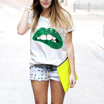 Sequined Mouth Print Cotton T-Shirt