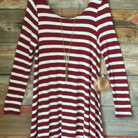 Addicted to you Striped Swing Dress: Burgundy