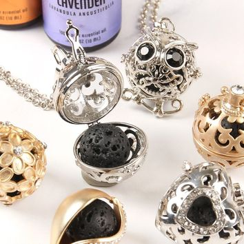 Lava Stone Locket Necklace