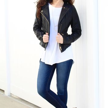 Short Leather Jacket with Gold Accents