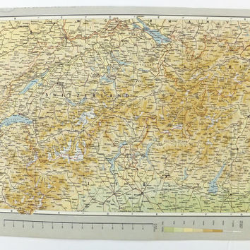 Vintage Switzerland map, Large Map, old map of Switzerland, Swiss map