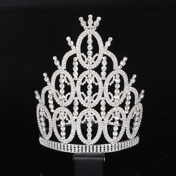 Elegant Noble Crystal Rhinestone Crown Women Big crown tiara Round Full Circle Silver hair accessories for Wedding Party