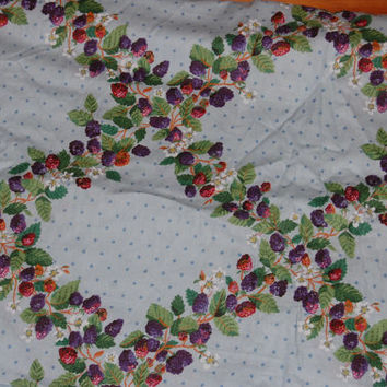 "Vintage Pale Blue Berries and Polka Dots Printed Upholstery Chintz Fabric 5 yds x 53"" wide"