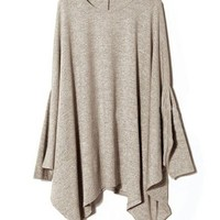 Oversized Knit Tops with Batwing Sleeve and Pleated Draped Hem