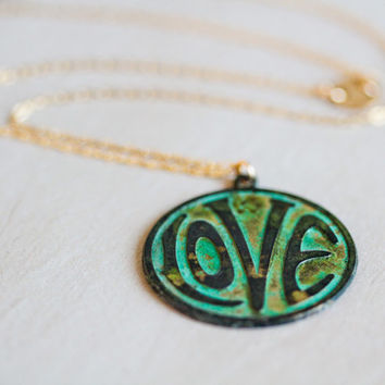 LOVE Gift / Love Necklace /Graduation Gift / Gift for Her / Love Jewelry / Bohemian / Boho Chic / Green Patina Necklace